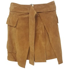 Alexander McQueen Mustard Suede Short Pleated Skirt
