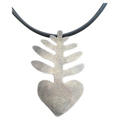 Heart Plant, large pendant sterling silver designs by Melanie Yazzie Navajo