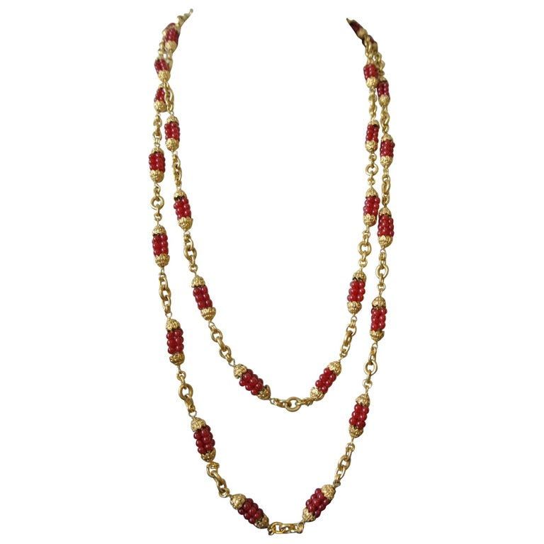 Chanel 1960s by Goossens Red Gripoix Beads Filigree Sautoir Necklace For Sale