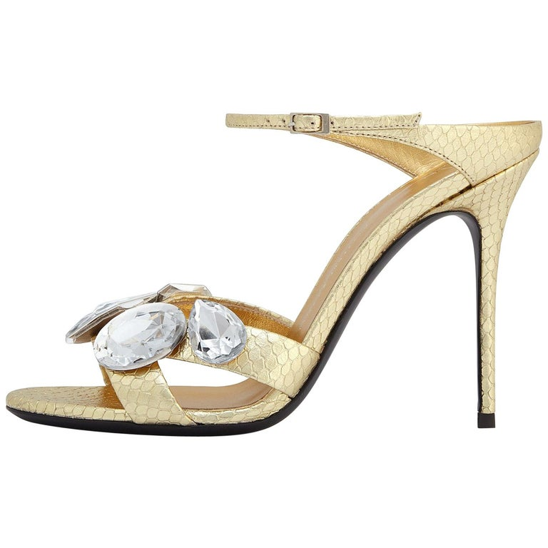 Giuseppe Zanotti NEW Gold Leather Crystal Evening Slide In Mules Heels in Box For Sale