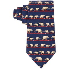 HERMES Navy Blue & Red Elephant Family Print 5 Fold Silk Necktie Tie 7621 TA