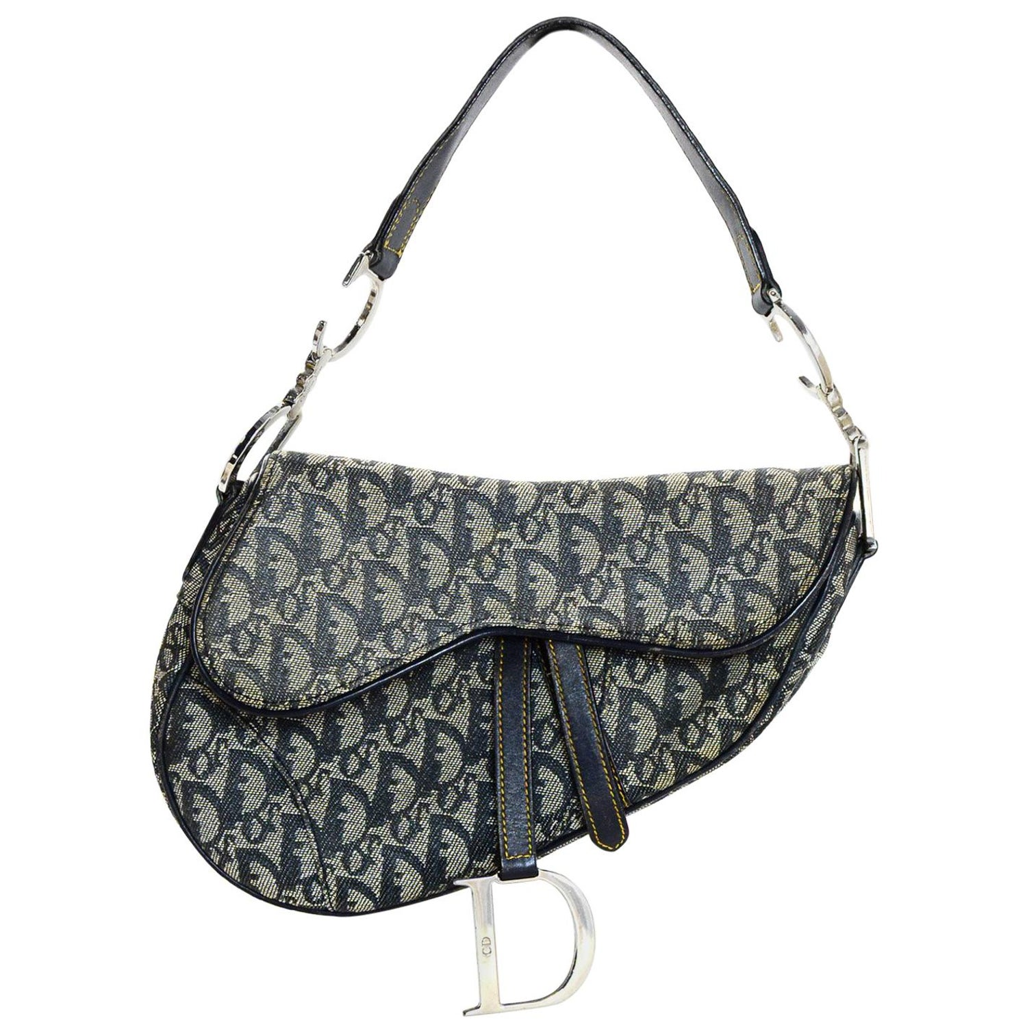 Christian Dior Vintage Canvas Monogram Blue D Saddle Bag For Sale at 1stdibs bb4e7736a1587