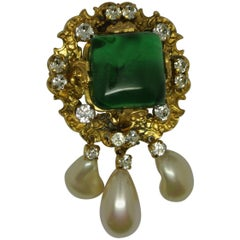 Vintage Chanel Byzantine Green Poured Glass Gripoix Filigree Pearl Drop Brooch