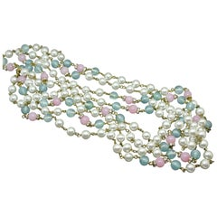 Chanel green pink gripoix poured glass faux pearl long necklace
