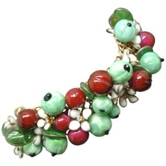 Gripoix 1950s Made in France Red Green Berry Beaded Charms Bracelet
