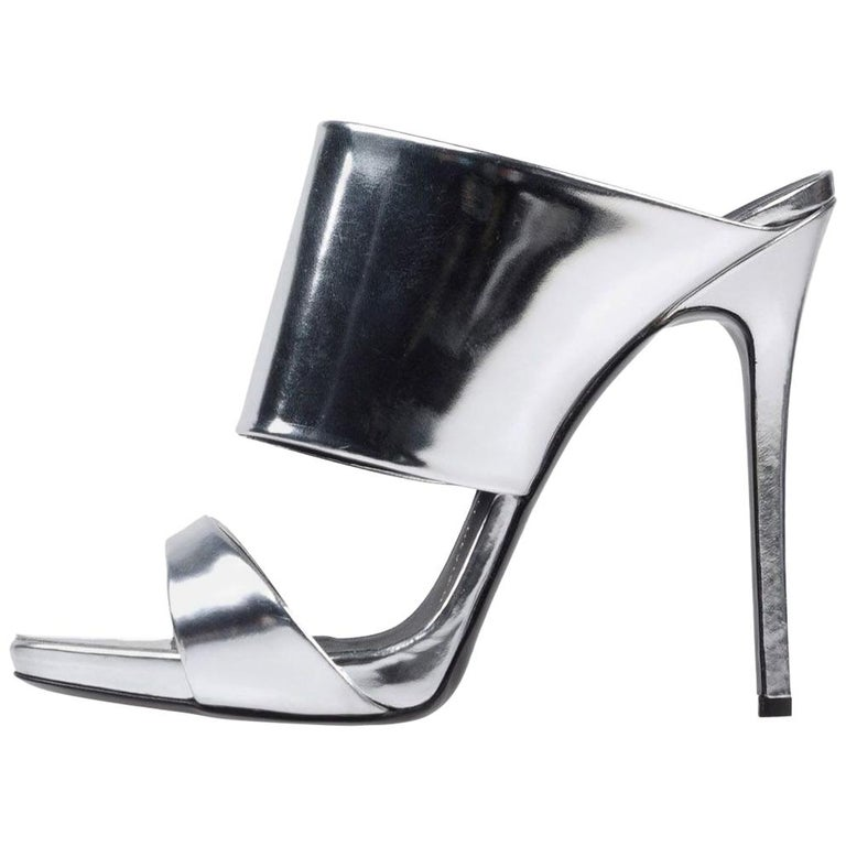 Giuseppe Zanotti NEW Silver Leather Mirror Evening Slide in Mules Heels in Box