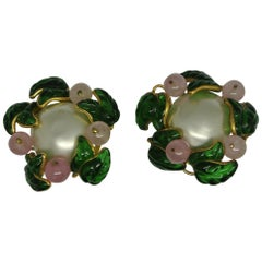 Vintage Chanel Flower Green Leaf Gripoix Poured Glass Faux Pearl Earrings