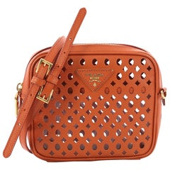 Prada Zip Crossbody Bag Perforated Saffiano Leather Mini