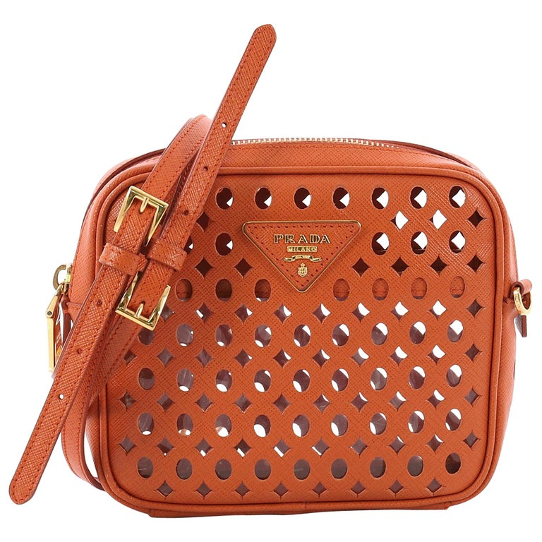0adbba89affc Prada Zip Crossbody Bag Perforated Saffiano Leather Mini at 1stdibs