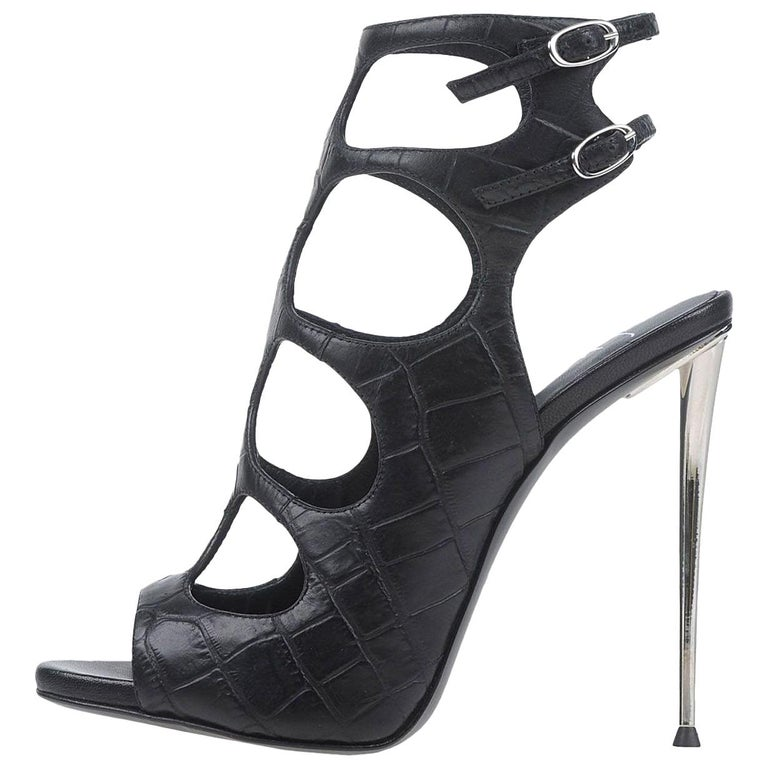 Giuseppe Zanotti NEW Black Leather Silver Cut Out Evening Sandals Heels in Box