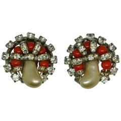 Vintage Chanel by Goossens Orange Glass Faux Pearl Earrings
