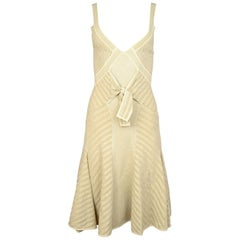 Zac Posen Tan Sleeveless V-Neck Flare Bow Dress W/ Silver Lurex Sz L