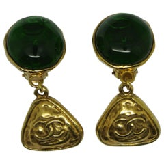 Vintage Chanel Green Poured Glass Logo Drop Earrings