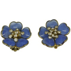 Vintage Chanel Gripoix Poured Glass Blue Flower Earrings