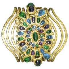 Vintage Chanel Blue Purple Gripoix Glass Byzantine Statement Bracelet Cuff