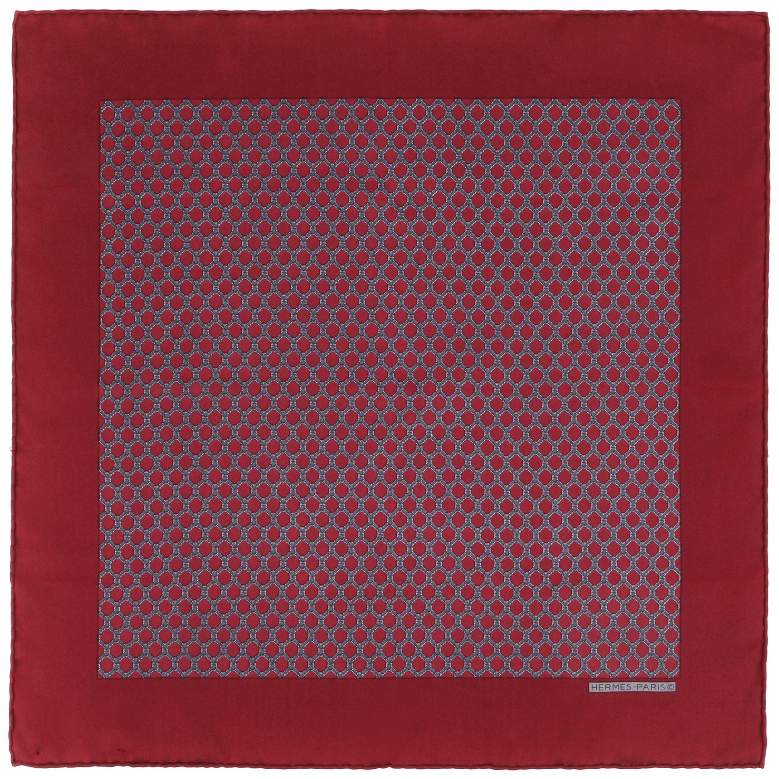 HERMES Burgundy Red Equestrian Belt Print Silk Scarf / Pocket Square