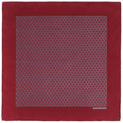 HERMES Burgundy Red Equestrian Belt Print Silk Scarf / Pocket Square
