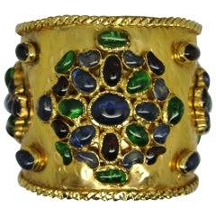 Vintage Gripoix French Poured Glass Byzantine Large Cuff Bracelet
