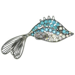 Countess Cissy Zoltowska Cis Blue AB Crystal Fish Brooch