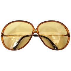 1960s Carrera Yellow Oversized Sunglasses