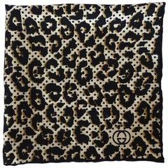 1990s Gucci Leopard & Polka Dot Printed Silk Scarf