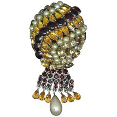 Christian Dior 1962 Red Citron Glass Faux Pearl Drops Balloon Brooch