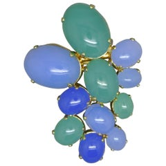 Christian Dior 1968 Blue Green Glass Geometric Shape Brooch