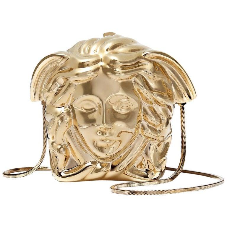 50c604b6d922 New VERSACE Medusa gold metal shoulder bag clutch For Sale at 1stdibs