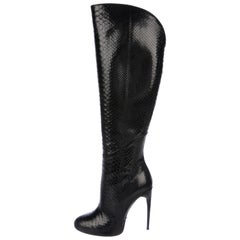 Gucci NEW Black Snakeskin Evening Knee Riding High Heels Boots