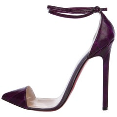 Christian Louboutin NEW Clear PVC Purple Leather Evening Pumps Heels in Box