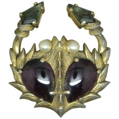 Schiaparelli 1950s Purple Black Glass Crab Brooch