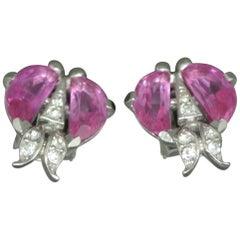 Trifari Demilune Moon Cut Pink Crystal Earrings
