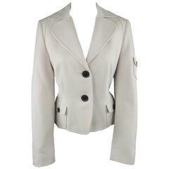 AKRIS Size 10 Cream Wool / Angora Patch Flap Pocket Cropped Blazer Jacket