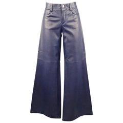 RALPH LAUREN Size 8 Navy Lamb Skin Leather Wide Leg Denim Cut Pants