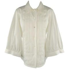 OSCAR DE LA RENTA Size 6 White Pleated Front Cropped Wide Sleeve Blouse