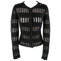 DOLCE & GABBANA Size 2 Black Cotton Mesh Stripe Ruffle Cardigan Sweater