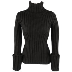 YOHJI YAMAMOTO Size L Black Ribbed Wool Cuffed Turtleneck Sweater
