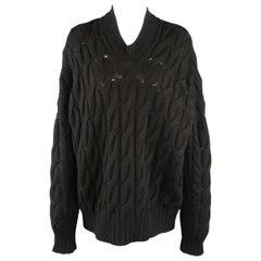 JUNYA WATANABE Size S Black Cableknit Wool Oversized V Neck Sweater