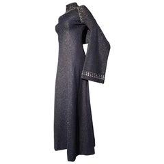 1960s Pauline Trigère Metallic Knit Gown W/ Futuristic Rhinestone Shoulder Yoke