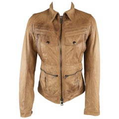 S.W.O.R.D Size XS Tan Distressed Leather Zip Jacket