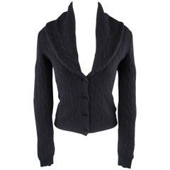 RALPH LAUREN Size S Navy Cashemere Blend Wide Shawl Collar Cardigan Sweater