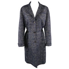 AKRIS Size L Navy Wool Blend Textured Houndstooth Ribbon Belt Waist Coat