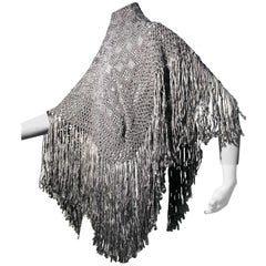 1970s I. Magnin Dove Grey Silk and Rayon Fringed Macramé Ribbon Shawl