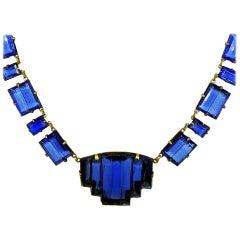 Art Deco tiefblau geformt ca. 20er Jahre Tschechische Glas Halskette
