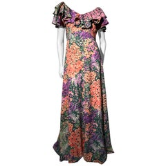 1970s Monet Inspired Bias Cut Floral Maxi Dress W/ Ruffles At Neckline