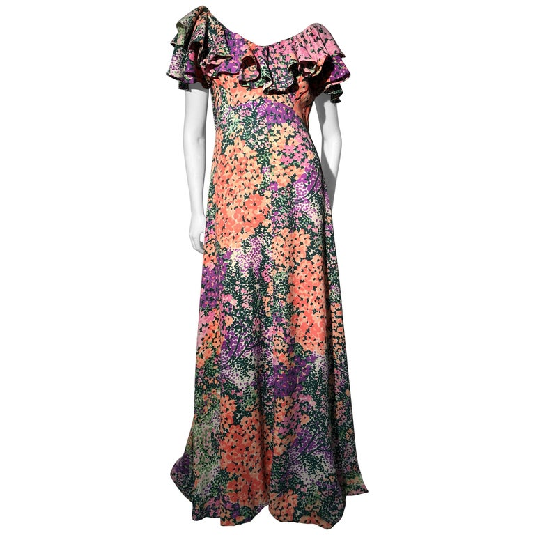 1970s Monet Inspired Bias Cut Floral Maxi Dress W/ Ruffles At Neckline For Sale