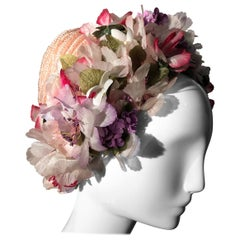 1960s Schiaparelli Straw Spring Hat With Wreath Of Silk Flowers Around Edge