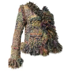 Contemporary Bouclé & Tweed Jacket W/ Heavy Fringed Trim At Cuffs & Hem