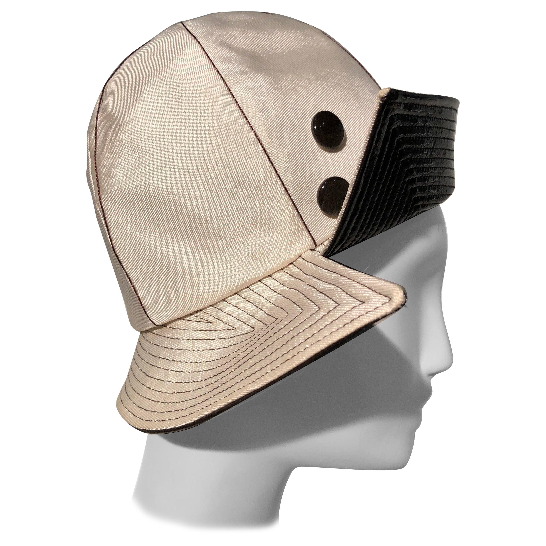 1960s Mr. John Ivory Faille Mod Hat W/ Wide Brown Patent Trapunto Stitched Brim