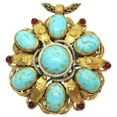 Circa 1940s Ernest Steiner Jeweled Pendant Necklace